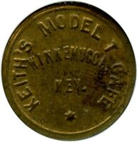 KEITH'S MODEL T CAFE WINNEMUCCA, NEVADA NV 5 NCS MINT STATE 62 TRADE TOKEN