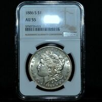 1886-S $1 MORGAN SILVER DOLLAR  NGC AU-55  S$1 ALMOST UNCIRCULATED TRUSTED