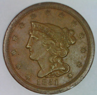 1851 BRAIDED HAIR HALF CENT HIGH GRADE EXTRA FINE -AU 1/2 PENNY LIBERTY BUST ONE BRADED