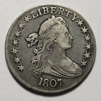 - 1807 DRAPED BUST 50C HALF DOLLAR.  MAGNIFICENT UNITED STATES SILVER COIN.