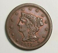 1851 HALF BRAIDED 1/2 CENT 1C - US COPPER COIN - HIGH CONDITION  SLIGHT TONING