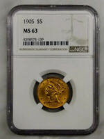 1905 $5 LIBERTY GOLD COIN  NGC GRADED MS 63   POPULATION 517