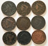 9 MIXED LOT LARGE CENTS. 1811 1817 1820 1824 1825 1838 1844