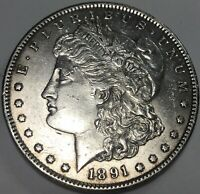 1891-S MORGAN $1 MOSTLY WHITE WITH MINT LUSTER AND TINY BIT OF WEAR