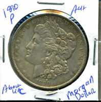 1890 P AU MORGAN DOLLAR 90 SILVER COIN ABOUT UNCIRCULATED COMBINE SHIP$1 WC863