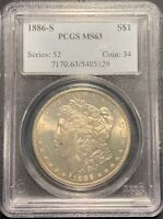 1886-S $1 MORGAN SILVER DOLLAR PCGS MINT STATE 63 - BETTER DATE