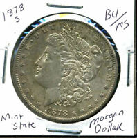 1878 S BU MORGAN DOLLAR UNCIRCULATED SILVER MINT STATE COMBINE SHIP$1 COINWC844