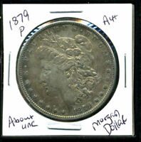 1879 P AU MORGAN DOLLAR 90 SILVER ABOUT UNCIRCULATED COMBINE SHIP$1 COINWC1375