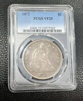 1872 SEATED LIBERTY SILVER DOLLAR PCGS VF25  FINE