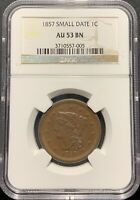 1857 SMALL DATE 1C BRAIDED HAIR LARGE CENT NGC AU-53 BN