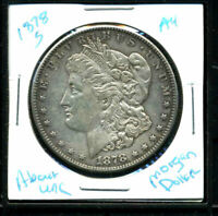 1878 S AU MORGAN DOLLAR 90SILVER COIN ABOUT UNCIRCULATED COMBINE SHIP$1 WC3038