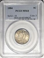 1884 5C PCGS MINT STATE 64 NEAR GEM UNCIRCULATED UNC REPUNCHED DATE LIBERTY V NICKEL COIN