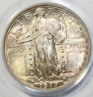 1917-D  25C, STANDING LIBERTY QUARTER, PCGS MINT STATE 65FH, TYPE 1, OGH