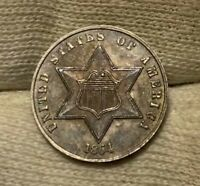 1864  THREE CENT SILVER TRIME  TOUGH CIVIL WAR DATE  UNCIRCULATED