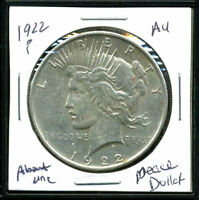 1922 P AU PEACE DOLLAR ABOUT UNCIRCULATED 90 SILVER COMBINED SHIP$1 COINWC1682
