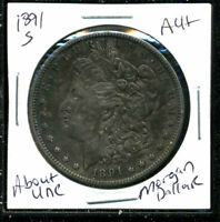 1891 S AU MORGAN DOLLAR 90 SILVER COIN ABOUT UNCIRCULATED COMBINE SHIP$1 C1574