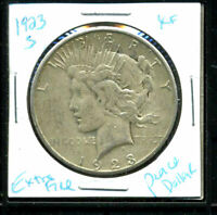 1923 S EXTRA FINE  PEACE DOLLAR EXTRAFINE 90 SILVER KEY DATE US COMMON DATE COIN 1C3053