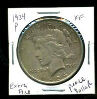 1924 P EXTRA FINE  PEACE DOLLAR EXTRAFINE 90 SILVER  AMERICA US COMMON DATE COIN 1535