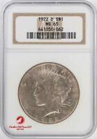 1922 D PEACE SILVER DOLLAR - NGC MINT STATE 65 - NGC 641050-062 -  KEY DATE