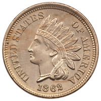 1862 INDIAN HEAD CENT -  UNCIRCULATED CONDITION - GREAT TYPE SET COIN