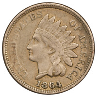 1864 INDIAN HEAD CENT -  CIRCULATED COPPER NICKEL - GREAT TYPE SET COIN