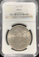 1889-S $1 MORGAN SILVER DOLLAR NGC MINT STATE 62
