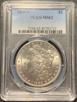 1889-S $1 MORGAN SILVER DOLLAR PCGS MINT STATE 62 - BETTER DATE