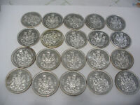 LOT OF 20 PRE 1967  CANADA HALF DOLLAR  SILVER COINS  50 CENT PIECES    LOT A