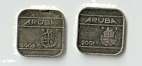 TWO ARUBA  50 CENTS 2001 & 2009 KM4 NI BONDED STEEL CH. UNCS LAMBAGH COLLECTION