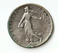 FRANCE 1907 1 FRANC 83.5  SILVER ALLOY KM 844.1 FIGURE SOWING SEED CHOICE VF
