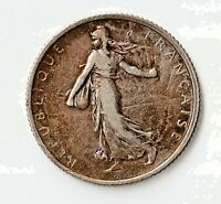 FRANCE 1918 1 FRANC 83.5  SILVER ALLOY KM 844.1 FIGURE SOWING SEED CHOICE XF