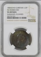 1806SOHO GREAT BRITAIN NO BERRIES REV 1/2P HALF PENNY VG NGC