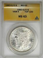1883 O/O MORGAN DOLLAR ANACS  MINT STATE 63 SOLID GLOWING TOP 100 VAM 4 EXAMPLE