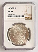1878 CC MORGAN SILVER DOLLAR $1 US COIN MINT UNCIRCULATED NGC MINT STATE 63 FIRST YEAR