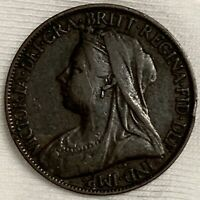 1899 GREAT BRITAIN FARTHING COIN QUEEN VICTORIA VEILED  L745