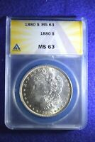 1880 MORGAN DOLLAR ANACS CERTIFIED MS--63 SUPERIOR WHITE DOLLAR   2