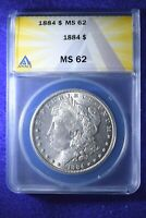 1884 MORGAN DOLLAR ANACS CERTIFIED MS--62 BU WHITE DOLLAR   12