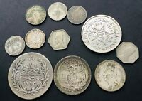 ANTIQUE SILVER MIDDLE EAST COINS  EGYPT  IRAQ  MOROCCO 89 GR