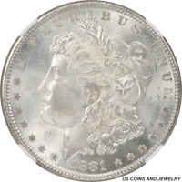 1881 MORGAN SILVER DOLLAR NGC MINT STATE 65 FROSTY WHITE ROLLING LUSTER