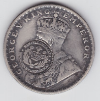 BRITISH INDIA  SILVER 1 RUPEE YEAR 1919 COUNTER MARKED MADAG