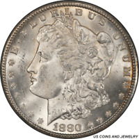 1880-CC MORGAN SILVER DOLLAR PCGS MINT STATE 63 A SHARP ATTRACTIVE COIN WITH LOTS OF EY