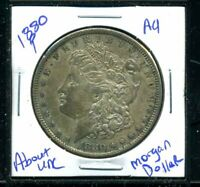 1880 P AU MORGAN DOLLAR 90 SILVER ABOUT UNCIRCULATED COMBINE SHIP $1 COIN 5035