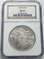 BEAUTIFUL 1879 S MORGAN SILVER DOLLAR NGC GRADED MINT STATE 65 GORGEOUS LUSTER