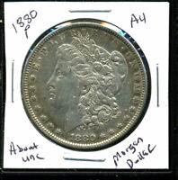 1880 P AU MORGAN DOLLAR 90 SILVER ABOUT UNCIRCULATED COMBINE SHIP$1 COIN 1087