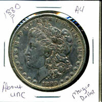1880 P AU MORGAN DOLLAR 90 SILVER COIN ABOUT UNCIRCULATED COMBINE SHIP$1 4384