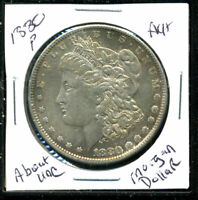 1880 P AU MORGAN DOLLAR 90 SILVER ABOUT UNCIRCULATED COMBINE SHIP$1 COINWC1512
