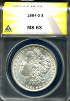 1884 O MINT STATE 63 MORGAN DOLLAR 90 SILVER UNCIRUCLATED CERTIFIED U.S $1 COIN  4412