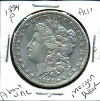 1884 P AU MORGAN DOLLAR 90 SILVER COIN ABOUT UNCIRCULATED COMBINE SHIP$1 4348