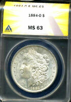 1884 O MINT STATE 63 MORGAN DOLLAR 90 SILVER UNCIRUCLATED CERTIFIED U.S $1 COIN  4659