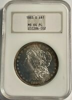 1883-O MORGAN SILVER DOLLAR NGC MINT STATE 64P/L 13045 OLD FAT NGC HOLDER. MINOR HALO